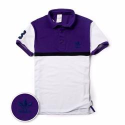 Áo thun polo cổ bẻ phối 2 màu cao cấp CS17 tím trắng