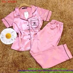Đồ bộ mặc nhà pyjama quần dài chất liệu phi bóng NN461