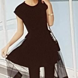 Đầm thun nữ thiết kế phối voan đẹp mắt, phong cách trẻ trung.
