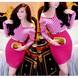 Set áo hồng kẻ sọc chân váy ôm body kèm belt Bella