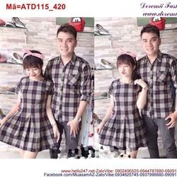 Set áo váy cặp tình nhân sọc ca rô trẻ trung ATD115
