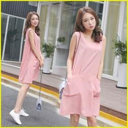 Đầm suông 2 túi trước chất thô mềm đẹp DB11