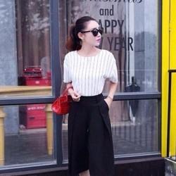 Sét áo sọc dọc cá tính và quần lửng ống loe thời trang SQV13