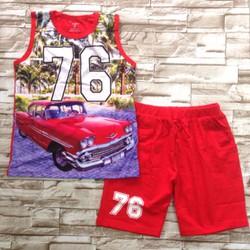 Bộ thun bé trai in xe 76 in 3D - bt51