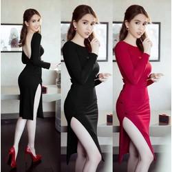 Đầm body tay dài thiết kế lưng V Ngọc Trinh
