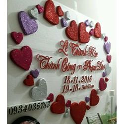 Bộ chữ xốp kim tuyến hình tim trang trí nhà cưới