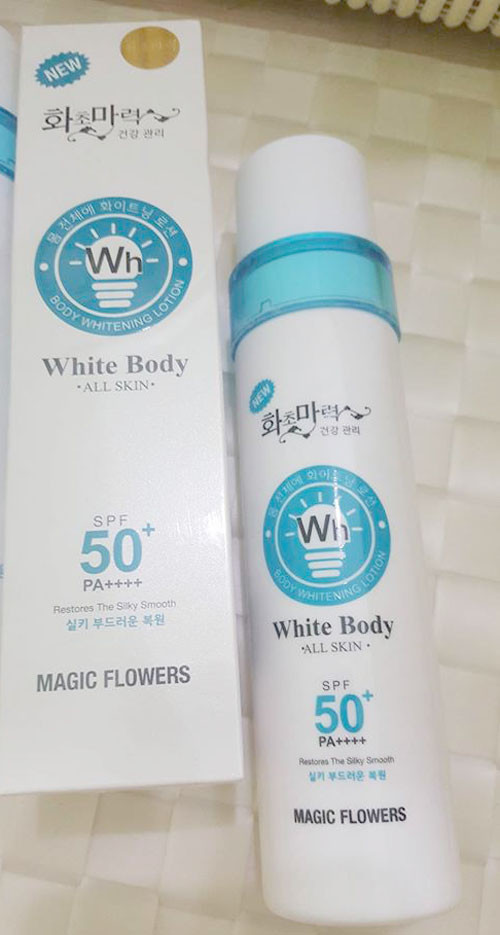 Lotion kích trắng da body White Body Magic Flowers 5