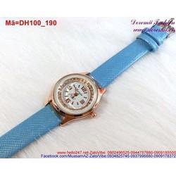Đồng hồ nữ dây da mặt đính hạt đáng iu DH100
