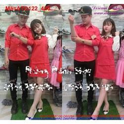 Set áo váy cặp sắc đỏ nồng nàn cho đôi bạn thêm yêu ATD122 View