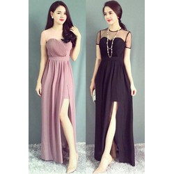 Đầm dạ hội thiết kế tay con phối lưới