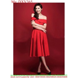 Đầm xòe đỏ bẹt vai ngang sang trọng và quý phái DXV365 View