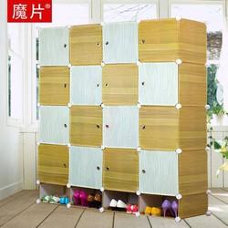 Tủ nhựa ghép 16 ô và 4 ngăn giày vân gỗ