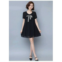 Đầm suông xòe đen nơ