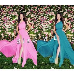 Đầm maxi dạ hội 1 vai xẻ đùi giống HH Mỹ Linh - ko kèm belt - D1255