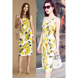Đầm body 2 dây hoa trái chanh