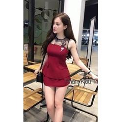 Sét áo sát nách phối lưới kèm logo chân váy xinh iu - SETKN01137