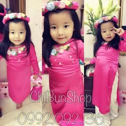 Áo dài lụa kèm mấn màu hồng đậm cho bé từ 1-8 tuổi