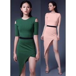 Đầm body thiết kế hở vai lệch tà sang trọng