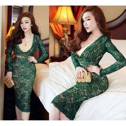 Đầm ren tay dài thiết kế khoét eo sang trọng
