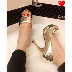 Giày cao gót hở mũi si bóng 10p - G01202