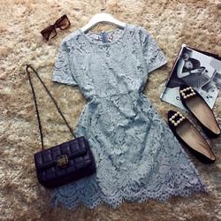 Đầm xòe A ren tay ngắn