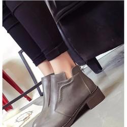 Giày Boot Nữ Cổ Ngắn Da Bóng Phong Cách Sang Trọng 02-BT212G