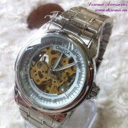 Đồng hồ cơ inox Ome mặt đính hột đẳng cấp sang trọng DHDT118
