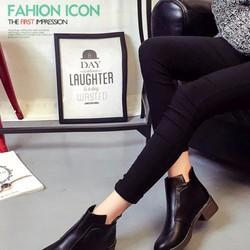 Giày Boot Nữ Cổ Ngắn Da Bóng 02-BT212D