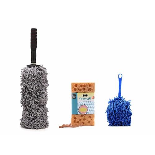 Bộ 2 chổi lau dọn nội ngoại thất cỡ nhỏ và 1 bọt biển lau xe