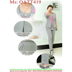 sét thể thao nữ áo khoác kiểu thêu chữ phối quần QATT419