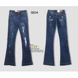 Quần jean lưng cao rách nhẹ ống loe cao cấp