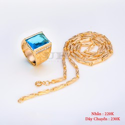 Combo Dây Chuyền Trúc Và Nhẫn Ruby Xanh Ngọc - Vàng