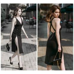 Đầm ôm hở lưng thiết kế ôm body xẻ cao
