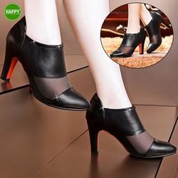 Giày Boot Da Cổ Thấp Phối Lưới - Giá Cực Sốc