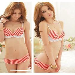 Bikini đi biển sọc đỏ đáng yêu,xinh xắn-BL092