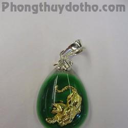 Mặt dây chuyền con giáp Dần vàng giọt nước màu xanh 2,9x2cm