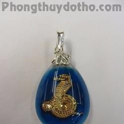 Mặt dây chuyền con giáp Tị vàng giọt nước màu xanh 2,9x2cm
