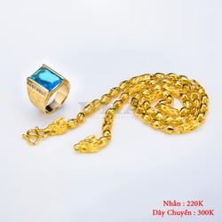 Combo Dây Chuyền Rồng Và Nhẫn Ruby Xanh Ngọc - Vàng