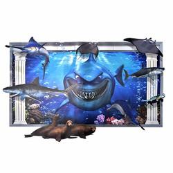 Decal dán tường 3D Cá Mập