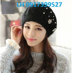 Nón bere nón len nữ lông thỏ Hàn Quốc mới K79RV23