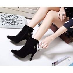 Giày Boot Nhung Phong Cách Hàn Quốc 09-B016D