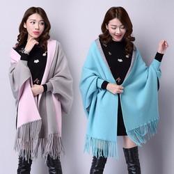 Áo khoác len vạt dài tua rua