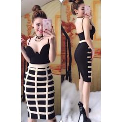 Đầm body 2 dây váy kẻ sọc - A27845