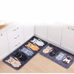 Bộ 2 Thảm Lót Sàn Chống Thấm Mèo Con Dễ Thương