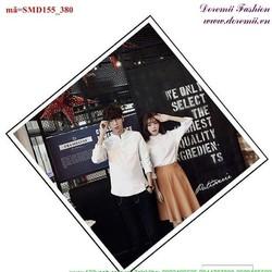 Sơ mi cặp đôi cổ trụ tròng quà tặng yêu thương SMD155
