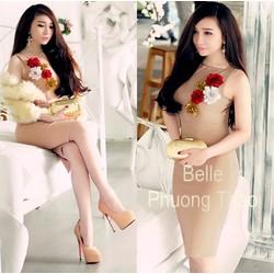 Đầm thiết kế nude hoa nổi giống bella S-TRD782