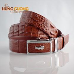 Thắt lưng da cá sấu Hùng Cường màu nâu đỏ HC3003