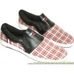 Giày xỏ nam sọc caro phong cách thời trang sành điệu GX13