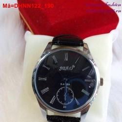 Đồng hồ nam dây da mặt đen huyền bí cá tính DHNN122