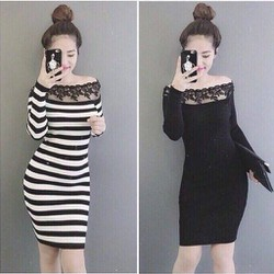 Đầm body nữ dài tay pha ren